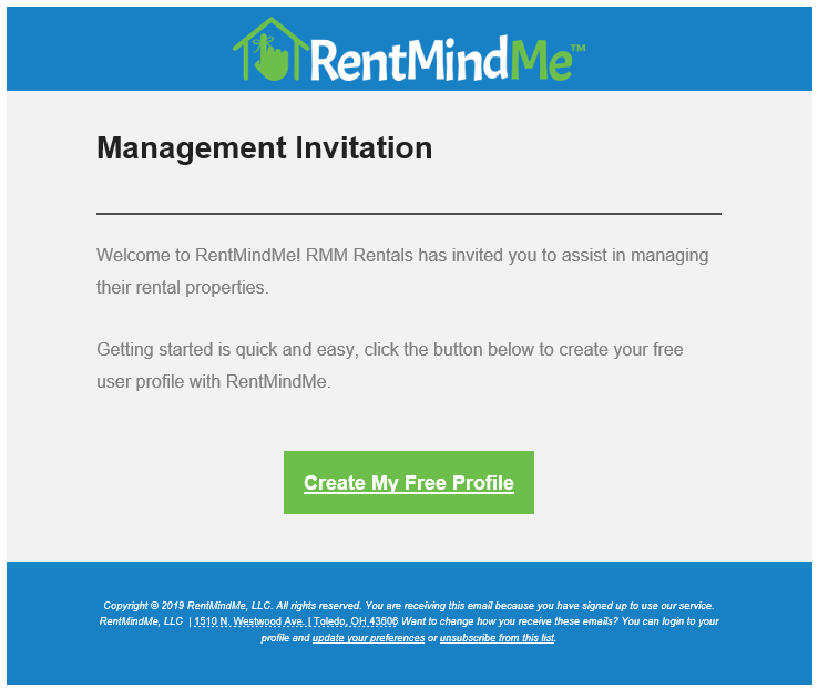 Invite your management team to RentMindMe