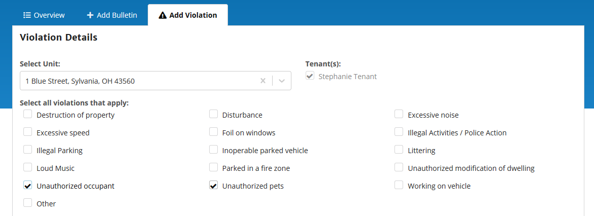 Lease Violation form in RentMindMe